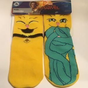 Disney Captain Marvel Goose Crew Socks Size W 4-10